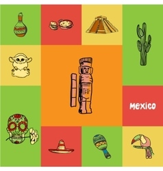 Mexico squared doodle concept vector