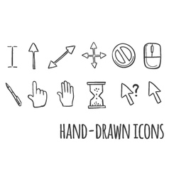 Mouse click hand drawn icons vector