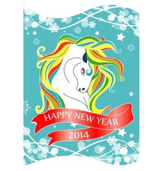 New Year 2014 card with horse and ribbon vector image vector image