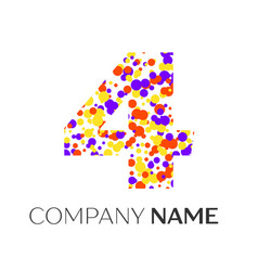 Number four logo with purple yellow particles vector