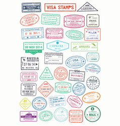 passport stamps or visa pages for traveling abroad vector image