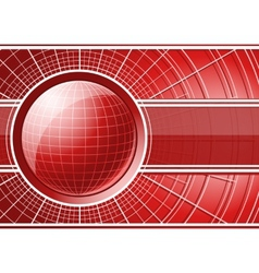 Red background with globe vector