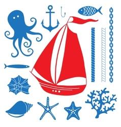 Silhouette Sea - Hand drawn set of sea symbols vector image