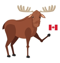 Single moose with canadian flag icon vector