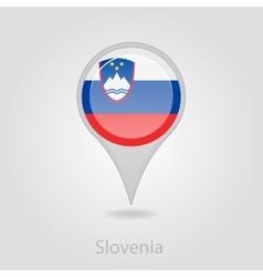 Slovenian flag pin map icon vector