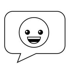 speech bubble with happy emoji vector image