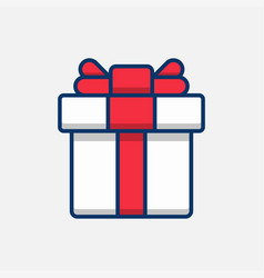 square gift box with red ribbon and bow vector image