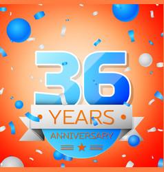 thirty six years anniversary celebration vector image vector image