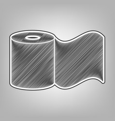 Toilet paper sign pencil sketch imitation vector