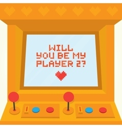 Will you be my player two Arcade machine vector image vector image