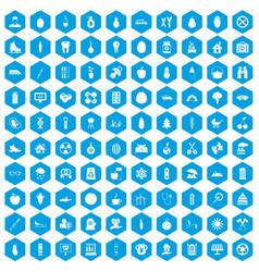 100 child health icons set blue vector