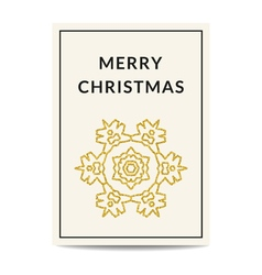 Merry christmas greeting card golden snowflake vector