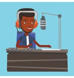 Male dj working on the radio vector