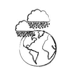 monochrome blurred contour of cloud with rain over vector image
