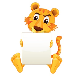 A sad tiger sitting holding an empty cardboard vector