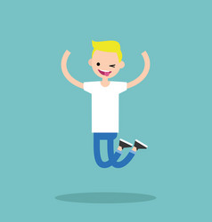 Young winking jumping blond boy flat editable vector