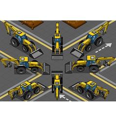 Isometric Yellow Backhoe in Eight Positions vector image