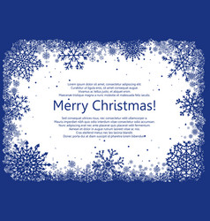 Blue christmas frame with snowflakes vector