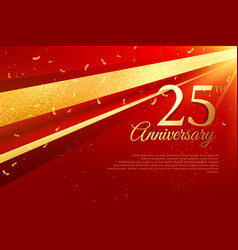 25th anniversary celebration card template vector image vector image