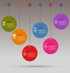 Time line info graphic colored round design vector