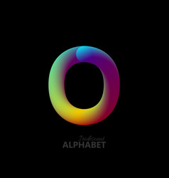 3d iridescent gradient letter o vector