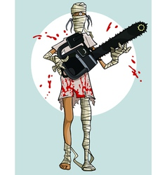 Funny cartoon mummy with a chainsaw in the blood vector