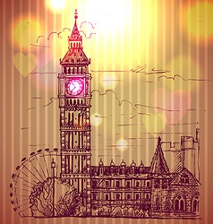 World famous landmark series big ben london vector