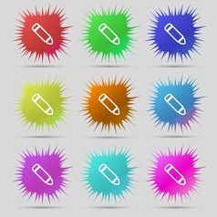 Pen icon sign a set of nine original needle vector