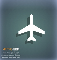 Airplane icon symbol on the blue-green abstract vector