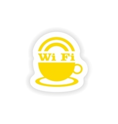 Icon sticker realistic design on paper wi-fi vector
