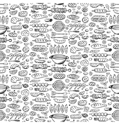 Grill-barbecue doodle set vector