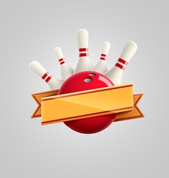 Bowling with ribbon realistic theme eps 10 vector