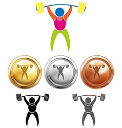 Weightlifting icon and sport medals vector