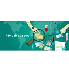 Affordable care act aca obama health insurance vector