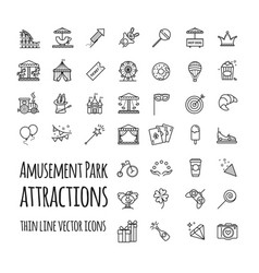 Amusement park attraction icons set vector