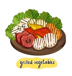 Assorted delicious grilled vegetable vector image