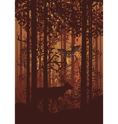 Autumn forest landscape and deer vector
