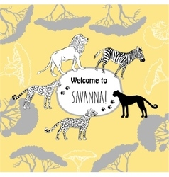 Background with savanna animals vector image vector image