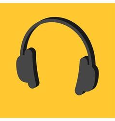 Black headphones icon Isometric effect Dash line vector image