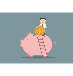 Businessman banking a golden dollar coin vector image
