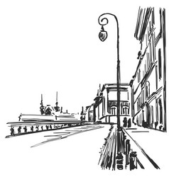 cartoon sketchy drawing of city cityscape vector image