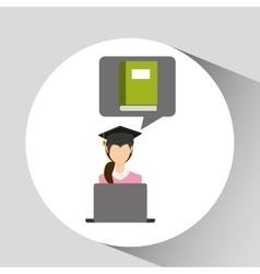 Character graduation book online education vector