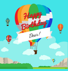 Colorful hot air balloon birthday card vector