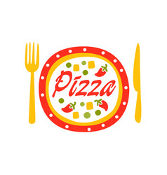 Creative flat logo design with vegetable pizza vector