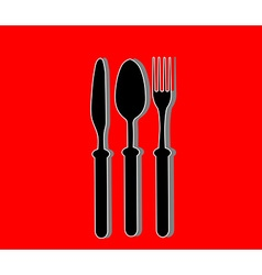 Cutlery background RED vector image vector image