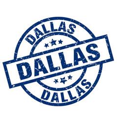 Dallas blue round grunge stamp vector