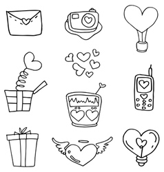 Doodle of object love theme vector