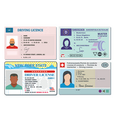 Driver license banner horizontal set flat style vector