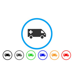emergency van rounded icon vector image vector image