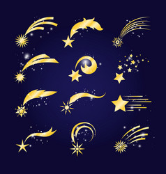 Falling comets or golden shooting stars vector